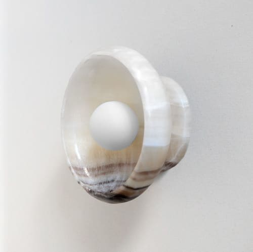 Sconces by l'aviva home seen at Private Residence, Brooklyn - Piedra Lighting Collection, Black + White Onyx Sconce