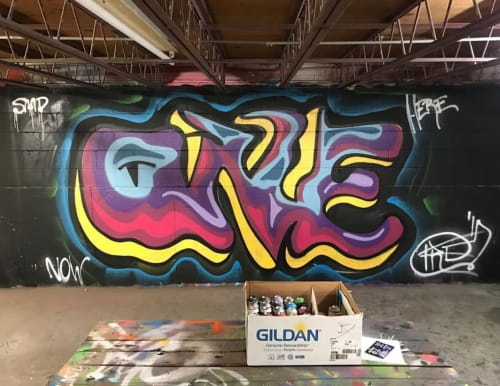 """Murals by Joey Free seen at 12 Shaw St, Quincy - """"One"""" graffiti style"""