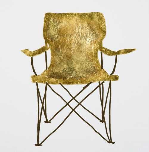 Paintings by Rochelle Udell seen at Private Residence, New York - Gold Leaf Chairs