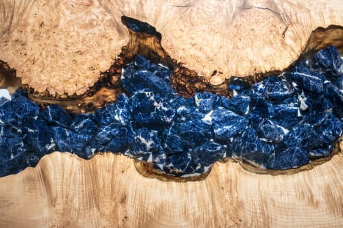 """Tables by Lumberlust Designs seen at Creator's Studio, Phoenix - Maple Burl Sodalite Mineral Resin River Coffee Table, 31x24"""""""