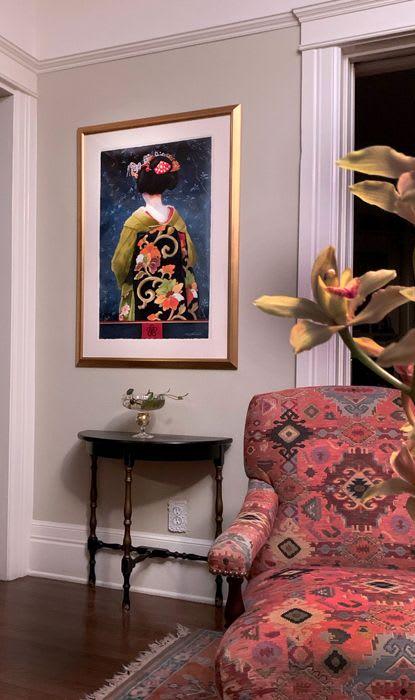 "Paintings by Kim Minichiello seen at Private Residence, Pasadena - Chanoyu Maiko, Watercolor, 32"" x 20"""