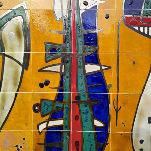 "Murals by Beatriz Santacana seen at Private Residence, Havana - ""Free Verses"". Ceramic Tile Mural"