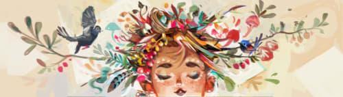 Murals by SillyJellie seen at the Starling, Petaling Jaya - Bonfire Girl