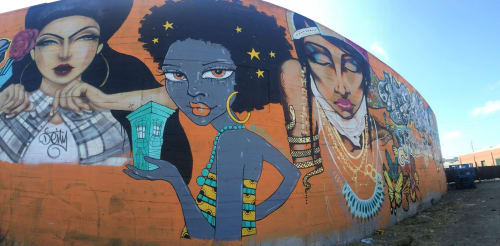 Murals by Ursula Xanthe Young seen at Mandela Parkway, Oakland - Oakland Wall
