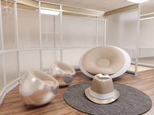 Couches & Sofas by Mavimatt seen at Venice Marco Polo Airport, Venezia - UFO Rocking Chair, PANAMA Coffee Table, METEORA Pouf