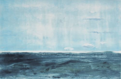 """Paintings by Rob Delamater at Serena & Lily Design Shop, San Francisco - """"Looking Back to Limantor Beach I & II"""", 2014"""