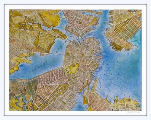 Art & Wall Decor by Seth B Minkin Fine Art at Seth B Minkin Studio + Showroom, Boston - Boston Map   Limited Edition Print   Multiple Sizes Available