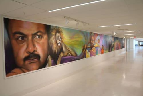 Murals by Jay F. Coleman seen at Ron Brown High School, Washington - Interior Mural