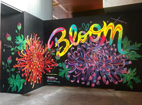 Murals by Surface of Beauty seen at Pier 17, New York - Pier 17 NY, collab murals with Jason Naylor