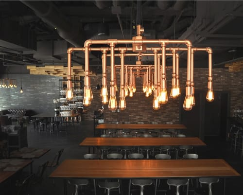 Chandeliers by ILEX Architectural Lighting at Committee, Boston - Custom Chandelier