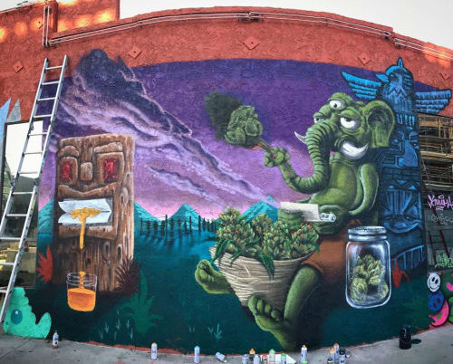 Street Murals by 3rdi Art seen at The Hollywood Hemp Museum, Los Angeles - Collaboration Mural