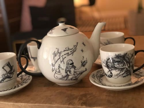 """Cups by Rory Dobner seen at Private Residence, Sausalito - Alice in Wonderland Cheshire Cat Tea Cup and Saucer"""""""