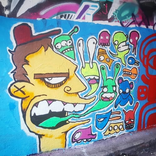 Street Murals by Frankie Curtis seen at The Graffiti Tunnel, London - Graffiti Doodle