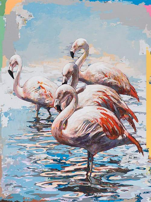Paintings by David Palmer Studio seen at Pasadena, Pasadena - Flamingos #3