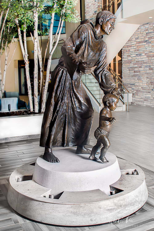 Sculptures by Mardie Rees seen at St. Anthony North Health Campus, Westminster - Saint Anthony's Guiding Hand