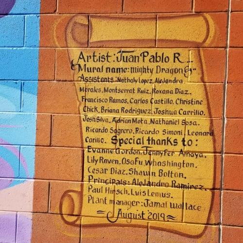 Murals by Juan Pablo Reyes seen at Bernstein High School, Los Angeles - Mighty Dragon