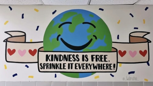 Murals by Two Brushes seen at Hayestown Avenue Elementary, Danbury - Kindness is Free, Sprinkle it Everywhere