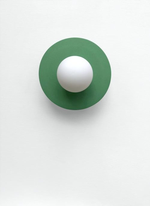 Sconces by What The Mood seen at Private Residence, Bristol - Full Moon - Green   Brass Wall Light