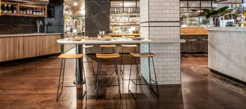 Chairs by LEVEL Commercial Furniture seen at Chat Thai, Sydney - Winnie Counter Stool with solid Oak Seat