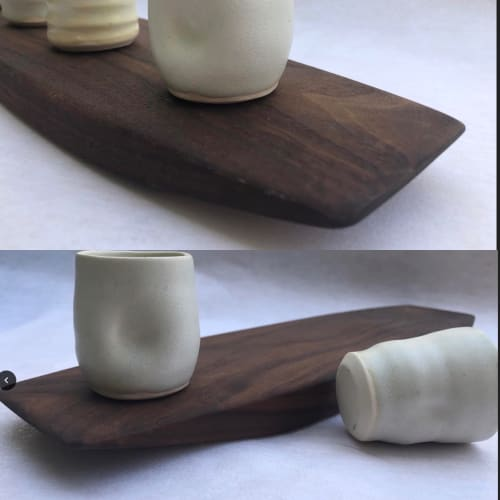 Cups by Helen Duncan seen at Private Residence, Boston - Shot Tray, porcelain and walnut wood.