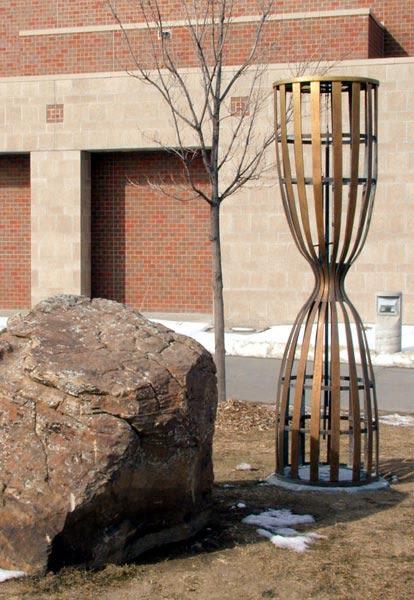 Public Sculptures by Leslie Bruning seen at Millard West High School, Omaha - Minute/Millennium