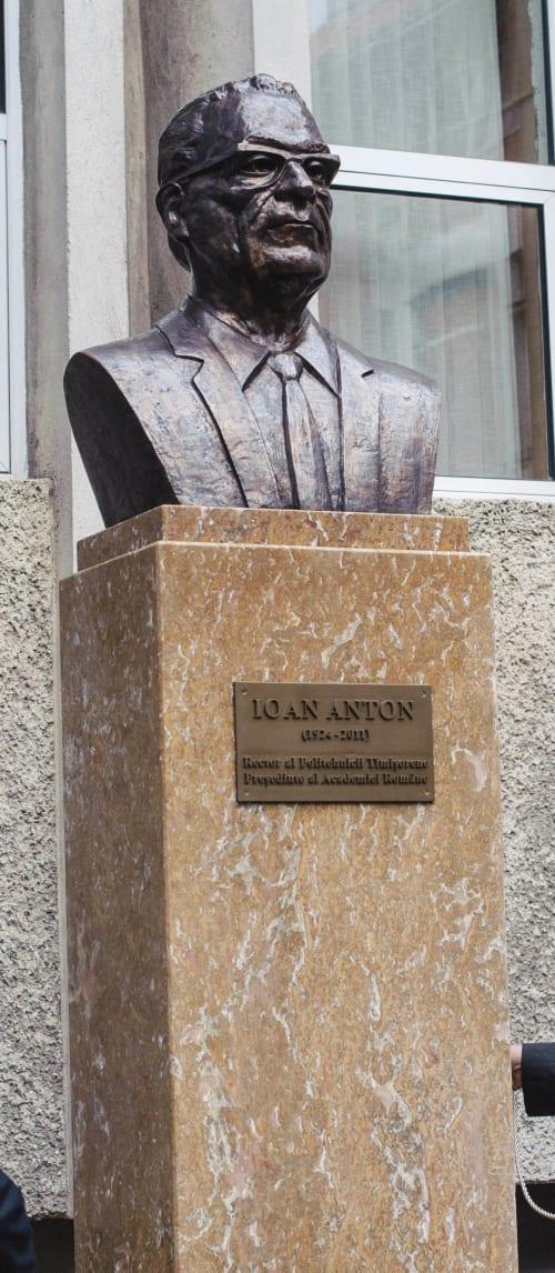 Public Sculptures by Linda-Saskia Menczel seen at Casa Politehnicii 2, Timișoara - Bust of Dean Ioan Anton