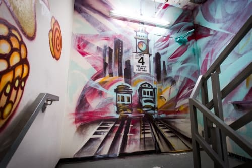 Murals by Mike Bam Tyau seen at Hotel Zetta, San Francisco - Zetta Hotel Stairway