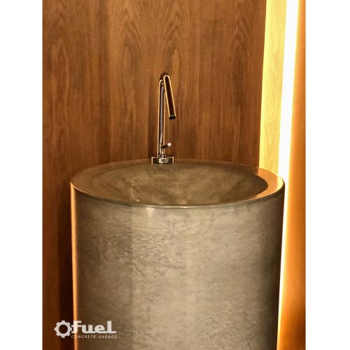Water Fixtures by VC Studio Inc. seen at Private Residence, Lawrence - The Fremont concrete pedestal sink.