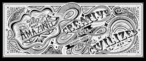 Murals by Julia Prajza seen at Clark Stanley Inc., Toronto - Ornate Lettering Mural for Creative Studio