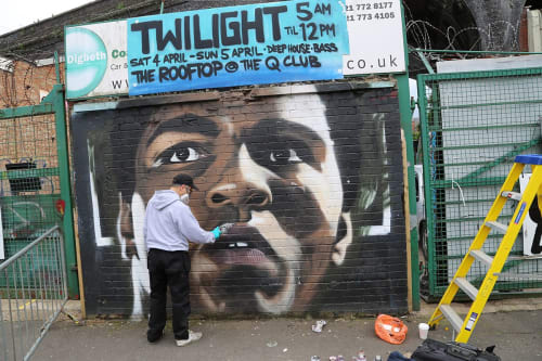 Murals by Akse seen at Birmingham, Birmingham - Ali