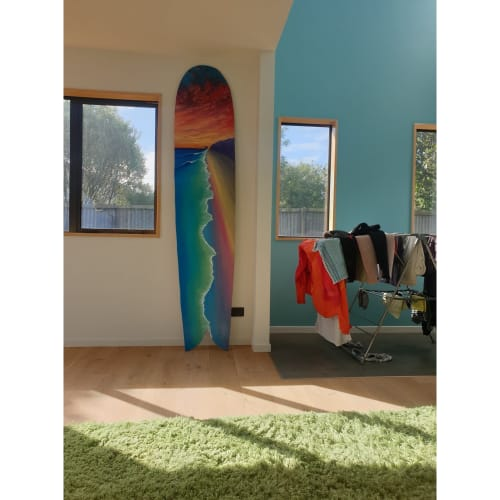Paintings by Adam Stanley Art seen at Apartment in Melbourne, Melbourne - Finless wooden surfboard
