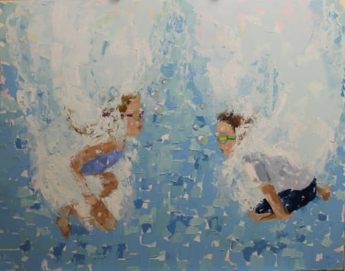 Paintings by EILEEN CORSE seen at Corse Gallery & Atelier, Jacksonville - Aqua Pura Painting 48hx60w