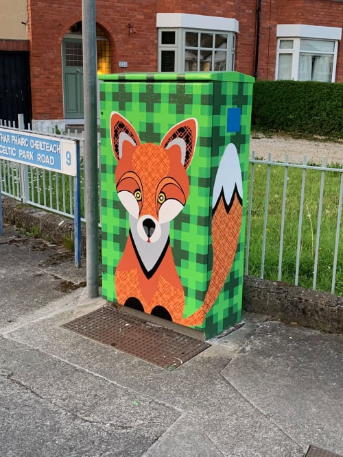 "Street Murals by Dexal Design seen at Collins Avenue, Dublin - Dublin Canvas ""Frolicking Fox"""