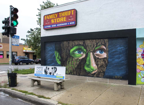 Murals by Joseph Renda Jr seen at 2160 N Milwaukee Ave, Chicago - Masked