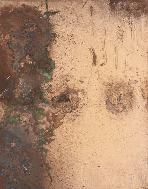 Paintings by Mikkel Carl seen at Private Residence, Frederiksberg - Oxidized copper and aluminum panels
