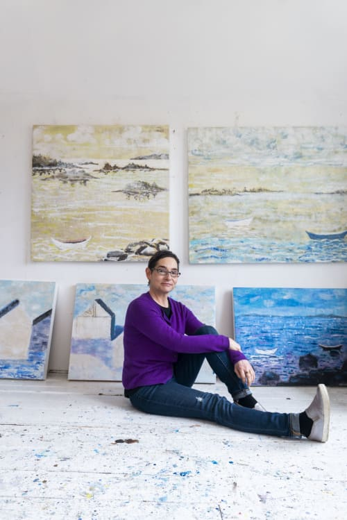 Paintings by willa vennema seen at Creator's Studio, Portland - Paintings from The House Series and The Boat Series