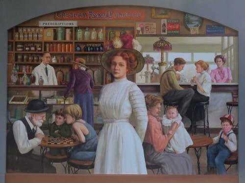 Street Murals by Don Gray Studio seen at Gresham, Gresham - Gresham Drugstore, circa 1910