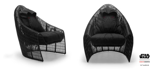 Chairs by Kenneth Cobonpue seen at Kenneth Cobonpue Asia, Cebu City - Sidious Easy Armchair and Chewie Rocking Stool