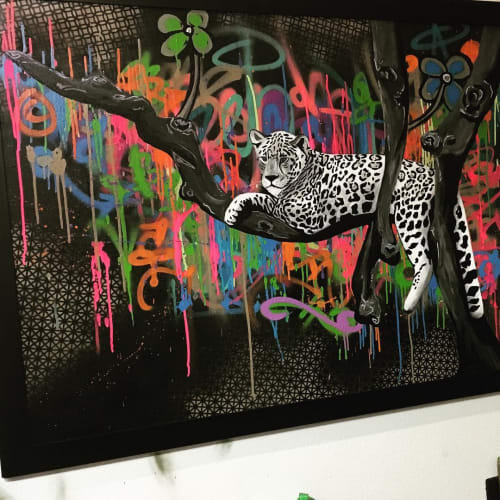 Paintings by Franky Castle Art at El Mercado Modern Cuisine, Santa Ana - Jungle City
