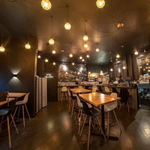 Pendants by Hangout Lighting seen at saku hoboken, Hoboken - Geo-Globes