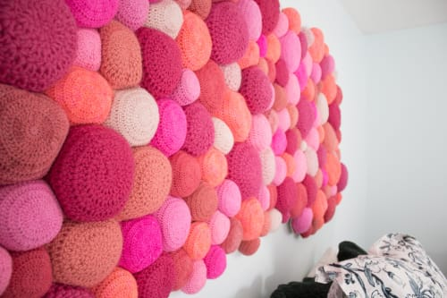 Wall Hangings by Ernie and Irene seen at Private Residence, Atlanta - Pink Crocheted Sheepskin Headboard