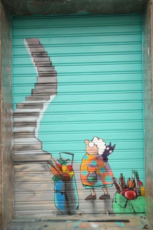 Murals by Laura9, Laura Tietjens seen at Carrer Gran de Sant Andreu, Barcelona - Valida1