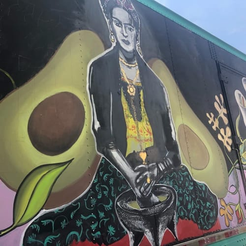 Murals by Sarah Elliott Alday seen at Ole's Guacamoles, Black Mountain - Frida Kahlo mural