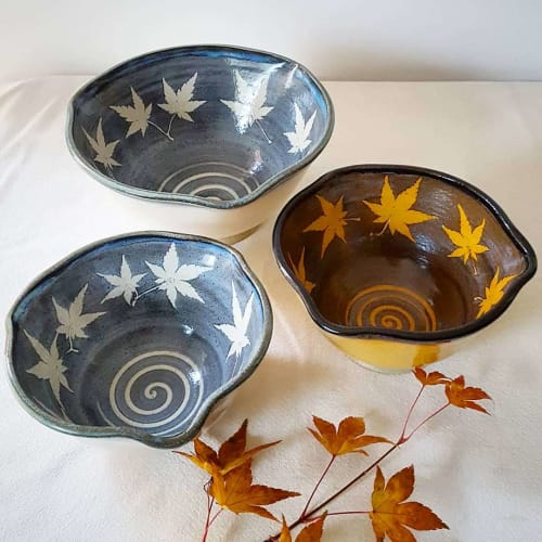 Tableware by Orna's Pottery seen at Private Residence, Seattle, Seattle - Japanese Maple Serving Bowls