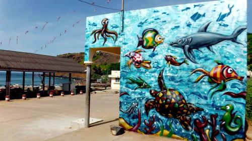 Street Murals by Arnaud Rabier Nowart seen at Ouakam, Dakar - Lebou-fish