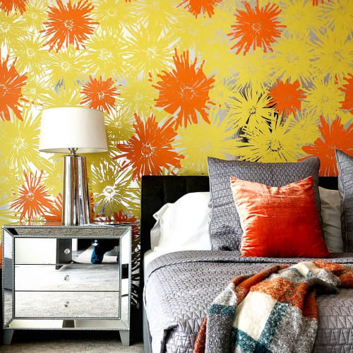 Wallpaper by FliePaper seen at Indian Canyons, Palm Springs - Custom Metallic Pom Pom