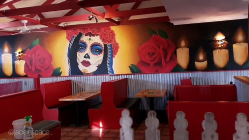 Murals by Jade Jennifer Art seen at 145 Thompson Ave, Cowes - Sambreros Day of the dead themed Mural