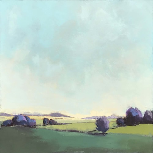 "Paintings by Carrie Megan seen at Creator's Studio, Wellesley - ""Shelburne Farms #10"" 24"" x 24"" oil on canvas"