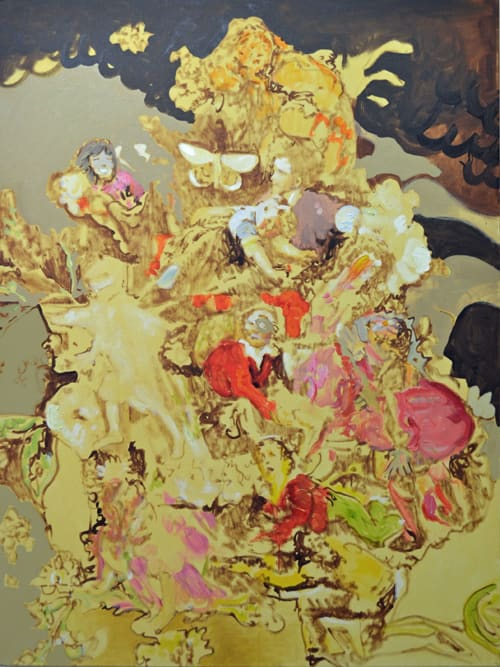 Paintings by Luisa-Maria MacCormack seen at Les Fêtes Galantes de London Fields, London - Feasting on Femininity