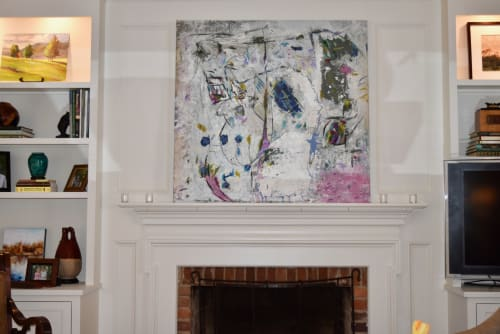 "Paintings by Michael Patterson ""push paint studios"" Charlotte NC USA seen at Private Residence, Augusta - Pink in Corner.  modern abstract large canvas."